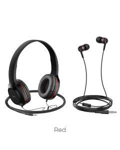 HOCO headphones W24 Enlighten headphones with mic set red