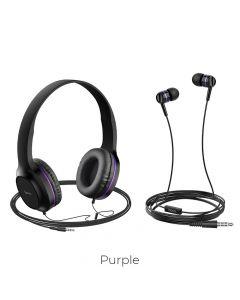 HOCO headphones W24 Enlighten headphones with mic set purple