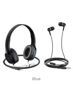 HOCO headphones W24 Enlighten headphones with mic set blue