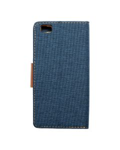 CANVAS Book case for HUAWEI P8 Lite navy blue