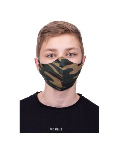 Profiled face mask for kids 8-12 - black camo