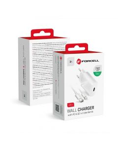 Travel Charger Forcell with USB C socket with ligtning cable - 3A 20W with PD and QC 4.0 function