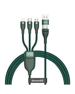 BASEUS cable USB / Typee C 4w1 Type C to Micro + Lightning 8-pin + Type C 100W PD Qi green CA2T3-06