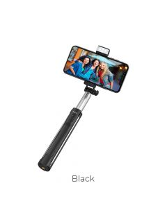 HOCO selfie stick with wirelles remote control + lamp K10A  Magnificent 1,1 meter black