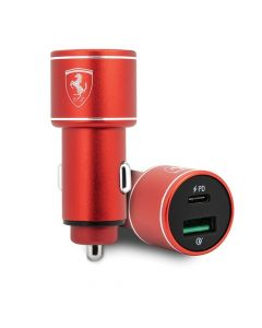 Original Car Charger Ferrari FEOCCALBK QC3.0 + PD36W Power Delivery Fast Charge red