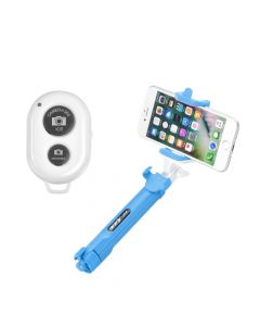 Combo selfie stick with tripod and remote control bluetooth blue