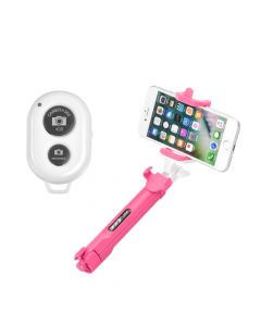 Combo selfie stick with tripod and remote control bluetooth pink