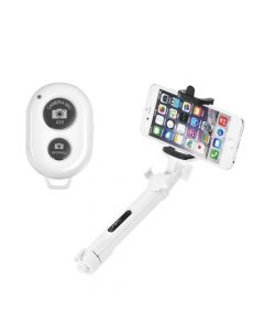Combo selfie stick with tripod and remote control bluetooth white